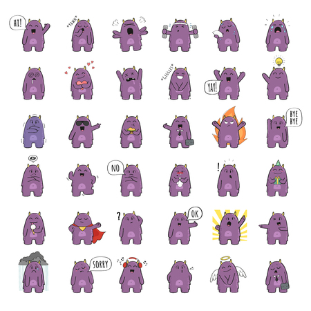 Set of cute monster character in various poses and with various emotions. Raster illustration