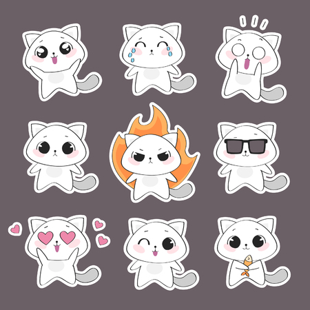 Set of cute cat character with emotions. Vector cat Vettoriali