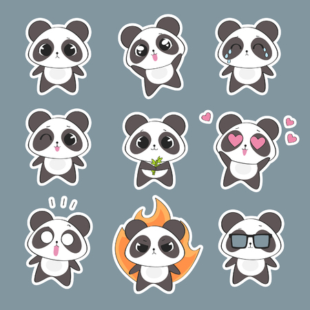 Set of cute panda character with emotions. Vector panda bear