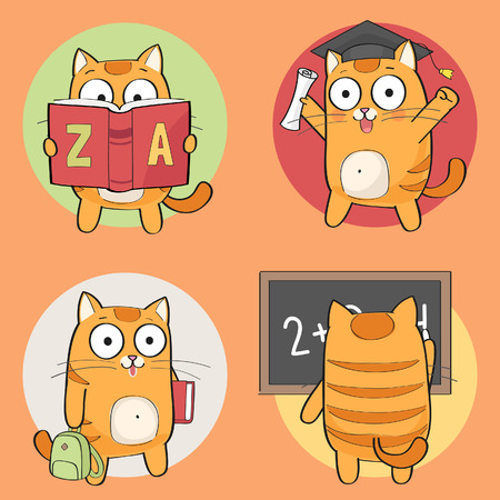 Back to school. Cute Cat Character studying, reading, going to school. Vector set.