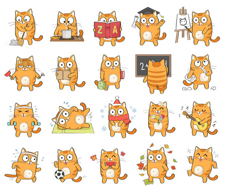 Set van schattige kat karakter met verschillende emoties, geïsoleerd op een witte achtergrond