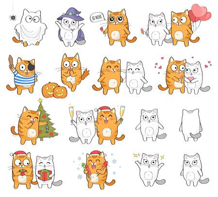Leuk kattenkarakter met verschillende die emoties, op witte achtergrond worden geïsoleerd. Feestdagen: Kerstmis, Halloween, Sint-Valentijnsdag.