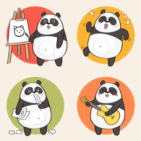 Dibujos animados de oso panda personaje. Pasatiempos creativos establecidos. Ilustración vectorial