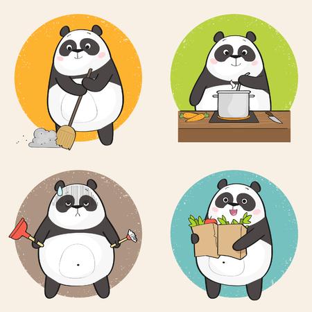 De leuke Panda draagt Karakter die verschillend huishoudelijk werk doen. Vector illustratie