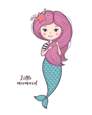 Cute little mermaid isolated on white background Vector illustration.