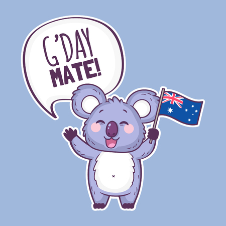 Cute koala character holding an Australian flag and saying G'day mate. Cute cartoon sticker with koala bear. Australia day vector illustration. Illustration