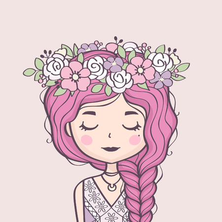 Cute girl in flower wreath. Beautiful girl with braid and flowers. Vector illustration.