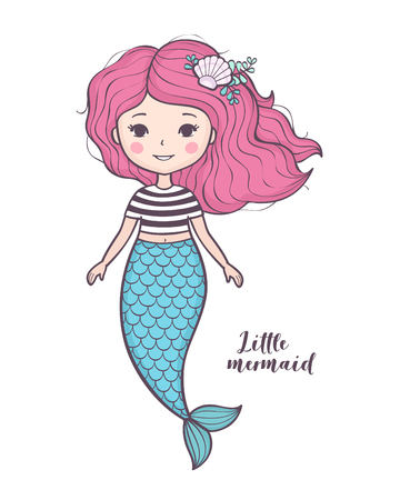 Cute little mermaid. Beautiful cartoon mermaid girl with pink hair, character design, isolated on white background. Vector illustration. Stock Illustratie