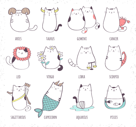 Set of cute cartoon zodiac cat. Vector illustration of twelve zodiacal symbols collection: Aries, Taurus, Gemini, Cancer, Leo, Virgo, Libra, Scorpio, Sagittarius, Capricorn, Aquarius, Pisces. Cat coll
