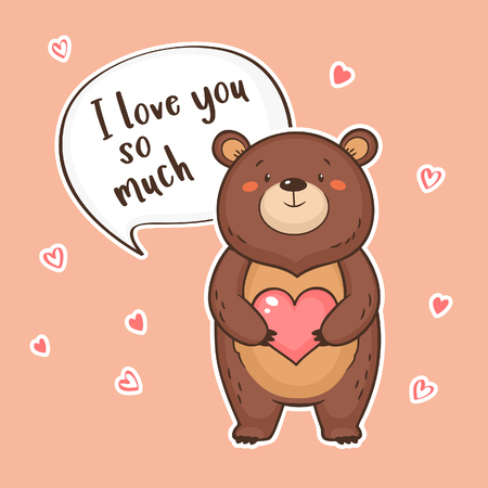 Cute funny Bear with heart and speech bubble with quote I love you so much. Valentine's Day greeting card. Vector illustration