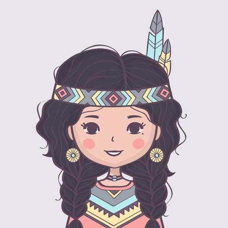 Jolie fille amérindienne en costume traditionnel. Illustration vectorielle Vecteurs