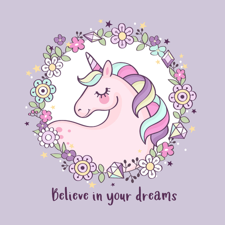 Cute magical unicorn in a flower wreath with inscription
