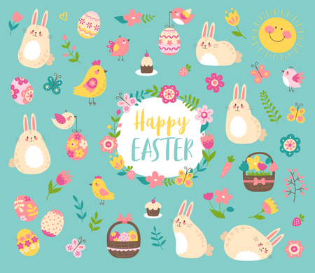 Vector Easter set with cute bunnies, birds, flowers and eggs. Easter design elements in cartoon style. Vector illustration  イラスト・ベクター素材