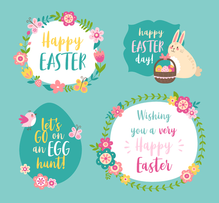 Flower wreaths, bunny and eggs. Easter greeting cards with text: Happy Easter day, lets go on an egg hunt,