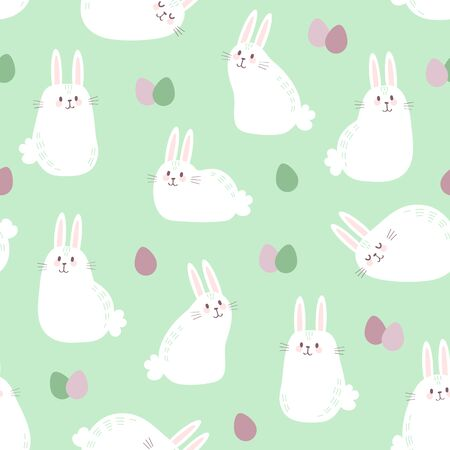 Vector seamless pattern with cute bunnies and easter eggs. Easter Day background