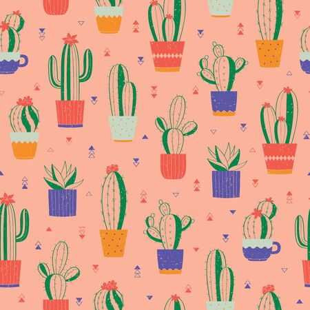 Cute seamless pattern with various hand-drawn cactuses in flowerpots. Vector colorful background