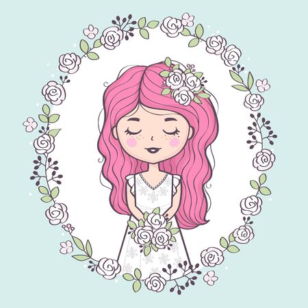 Wedding dress holding bouquet. Cute cartoon bride character
