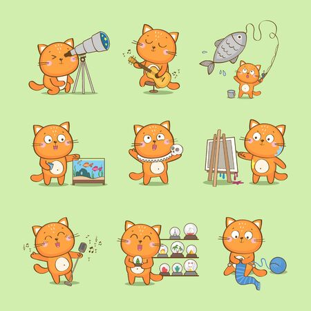Set of cute cartoon cat characterizing different hobbies: