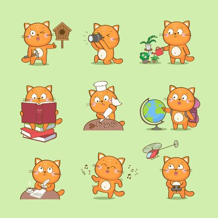 Set of cute cartoon cat characterizing different hobbies: photography, reading, culinary, travel, craft, writing, dance, home gardening  イラスト・ベクター素材