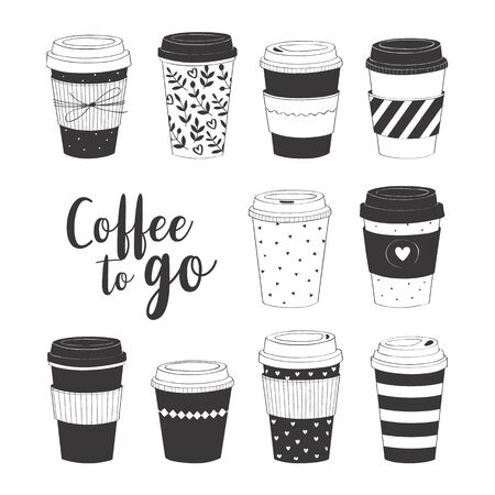 Coffee cup set. Vector collection with various disposable cups of coffee to go. Hand drawn doodle illustration