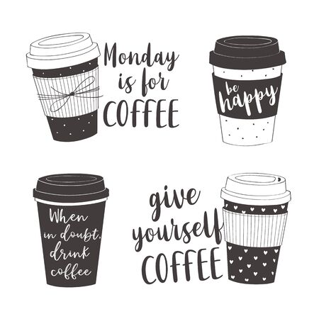 Hand drawn lettering quotes about coffee. Vector collection of cups for cards, stickers, posters, prints  イラスト・ベクター素材