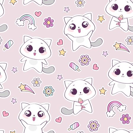 Seamless pattern with cute cat character, vector illustration  イラスト・ベクター素材
