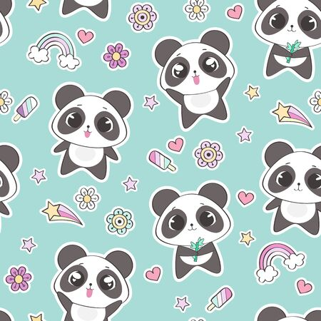 Seamless pattern with cute panda character, vector illustration