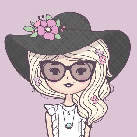 Beautiful cute blond girl portrait in a straw hat. Fashion girl with beautiful long hair, hat, sunglasses and flowers. Vector illustration