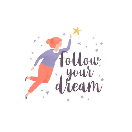 Follow your dreams. Illustration of a woman and stars with inspirational quote. Motivational quote design 写真素材