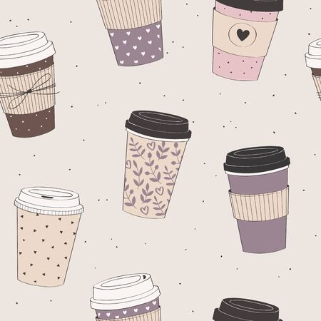 Coffee cup pattern. Vector seamless pattern with various disposable cups of coffee to go. Hand drawn doodle background