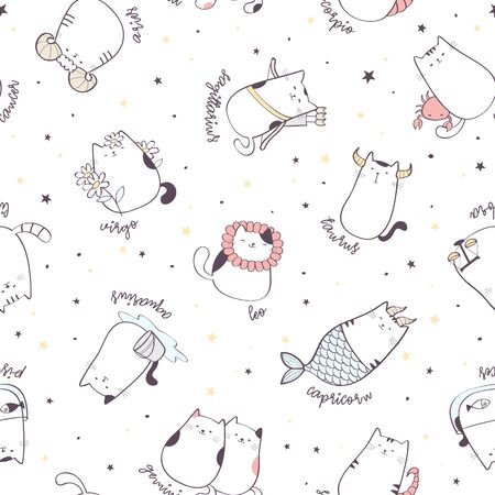 Seamless pattern with cute cartoon zodiac cats. Vector illustration of twelve zodiacal symbols. Vector background  イラスト・ベクター素材