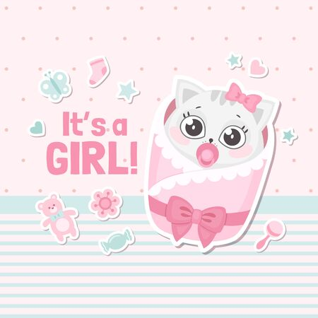 Its a girl baby shower card with cute cartoon cat. New born baby girl greeting card. Vector illustration  イラスト・ベクター素材