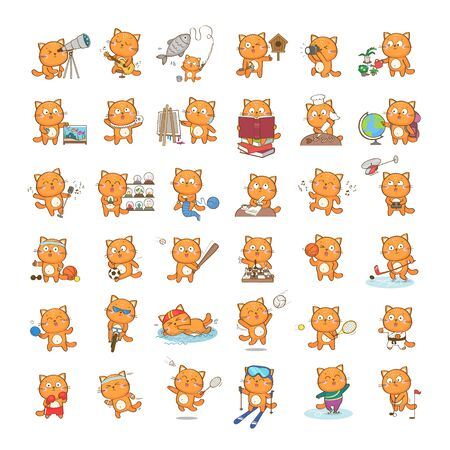 Set of cute cartoon cat character representing different hobbies and sports, isolated on white background