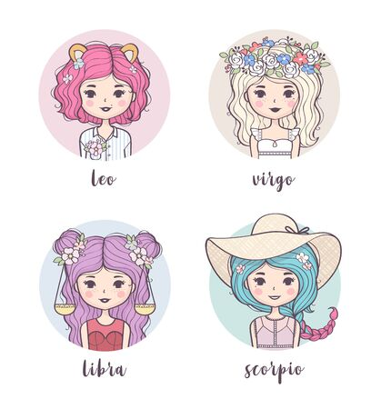 Vector set of cute zodiac girls. Zodiac signs collection: Leo, Virgo, Libra, Scorpio. Horoscope illustration