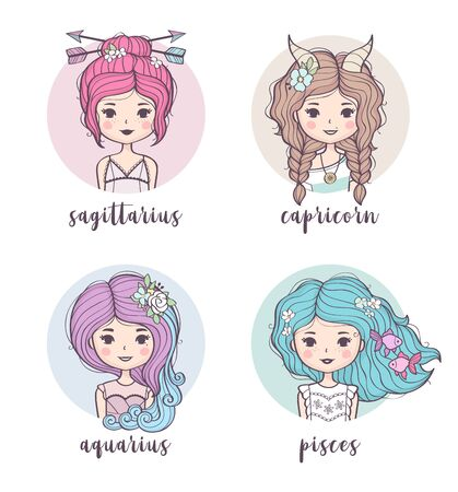 Vector set of cute zodiac girls. Zodiac signs collection: Sagittarius, Capricorn, Aquarius, Pisces. Horoscope illustration  イラスト・ベクター素材