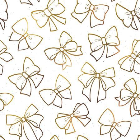 Cute seamless pattern with beautiful golden bows. Vector illustration Standard-Bild - 133213245