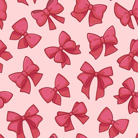 Cute seamless pattern with beautiful pink bows. Vector illustration Standard-Bild - 133213248