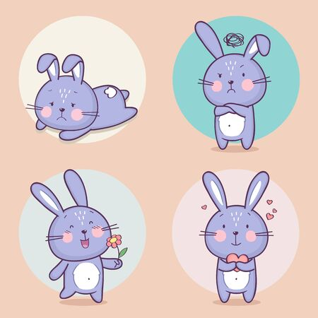 vSet of cute bunny rabbit character with different emotions. Vector cartoon bunny character. Vector collection Standard-Bild - 132764101