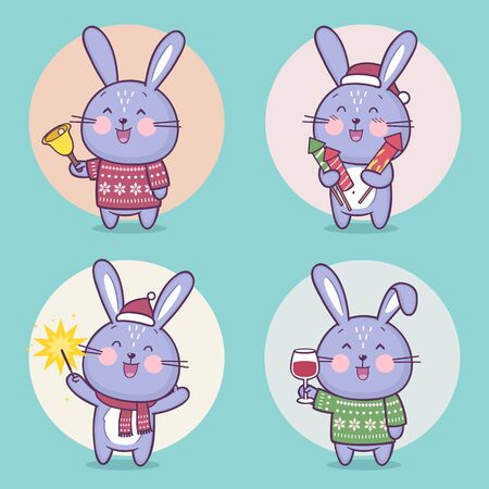 Set of cute bunny rabbit character celebrating Christmas. Vector cartoon bunny character having fun. Vector collection Standard-Bild - 132764080