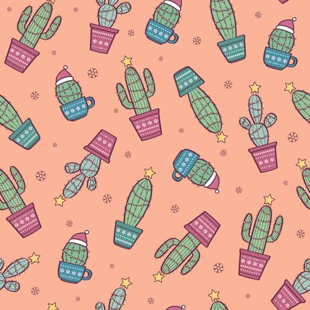 Vector seamless pattern with funny cactuses with Christmas decorations. Merry Christmas festive background Standard-Bild - 133213247