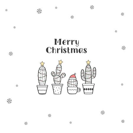 Very cute tiny Christmas greeting card with cactuses decorated as Christmas trees. Merry Christmas vector illustration Standard-Bild - 132764347