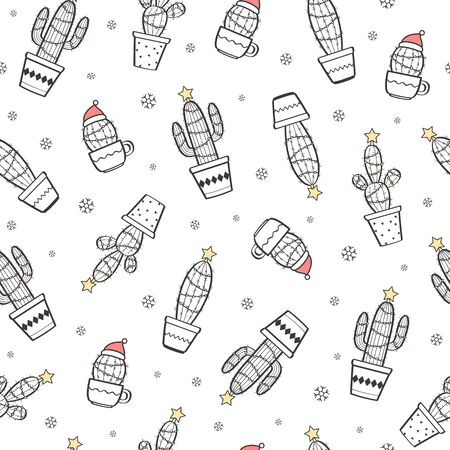 Vector seamless pattern with funny cactuses with Christmas decorations. Merry Christmas black and white festive background