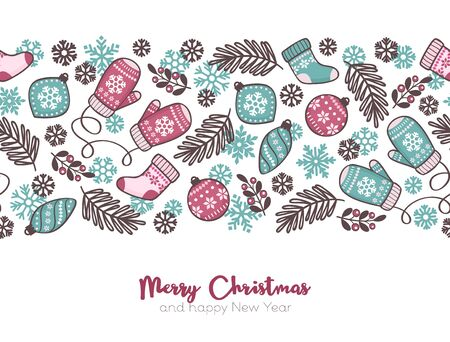 Vector Christmas seamless pattern background, cute Christmas elements with text Standard-Bild - 133213246