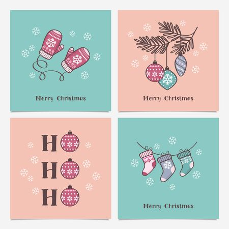 Collection of Christmas and Happy New Year greeting cards with cute hand drawn decorative elements. Trendy minimalist tiny style Standard-Bild - 132765243