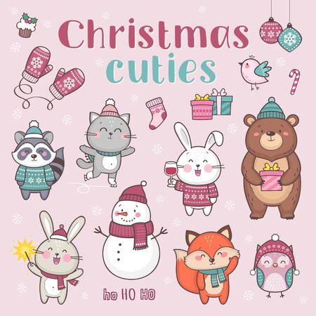 Christmas cuties illustration. Set of cute cartoon characters for Christmas and New Year celebration Standard-Bild - 132764062