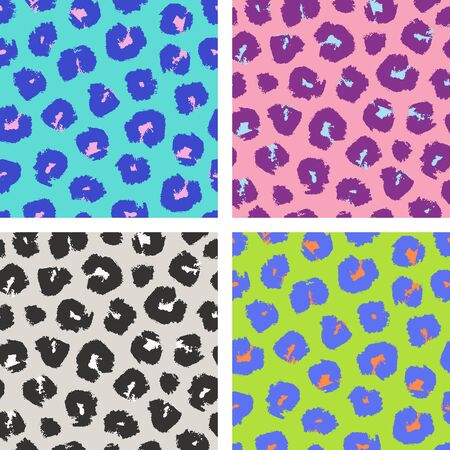Vector collection of leopard seamless patterns in trendy acid colors. Leopard print design, fashion textile, wrapping paper, page fill Standard-Bild - 133213256