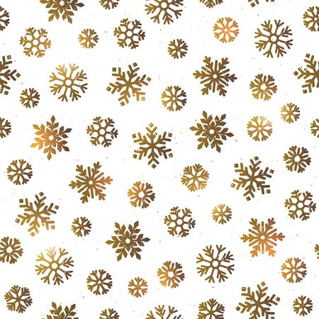 Vector Seamless pattern with various snowflakes in gold. Various golden snowflakes on white background. Standard-Bild - 133213257