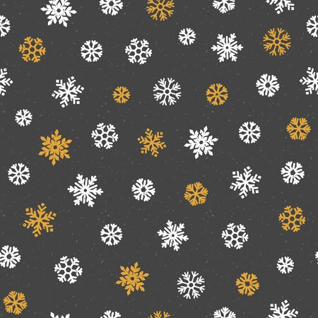 Vector Seamless pattern with various snowflakes in gold and white. Various golden snowflakes on dark background. Merry Christmas holiday, Happy New Year celebration vector illustration Standard-Bild - 133213259