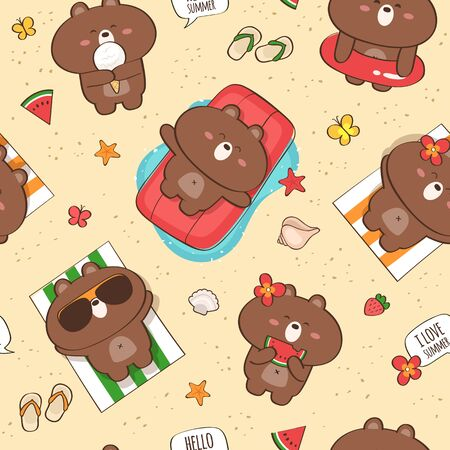 Vector seamless pattern with cute bears having fun at vacation. Background with the sea and beach summer activities Standard-Bild - 133213261