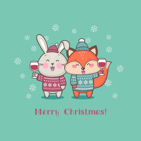 Merry Christmas greeting card with cute cartoon animals holding glass of wine. Merry Christmas and Happy New Year vector illustration Standard-Bild - 132765040